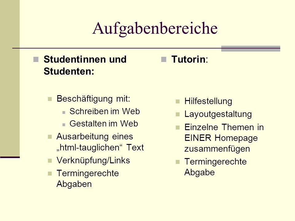 Aufgabenbereiche Studentinnen und Studenten: Beschäftigung mit: Schreiben im Web Gestalten im Web Ausarbeitung eines html-tauglichen Text Verknüpfung/