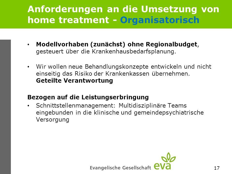 Anforderungen an die Umsetzung von home treatment - Organisatorisch Modellvorhaben (zunächst) ohne Regionalbudget, gesteuert über die Krankenhausbedar