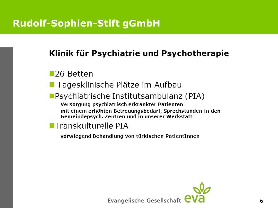 6 Rudolf-Sophien-Stift gGmbH Klinik für Psychiatrie und Psychotherapie 26 Betten Tagesklinische Plätze im Aufbau Psychiatrische Institutsambulanz (PIA