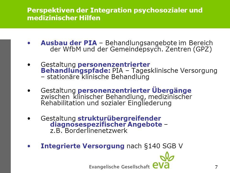 7 Perspektiven der Integration psychosozialer und medizinischer Hilfen Ausbau der PIA – Behandlungsangebote im Bereich der WfbM und der Gemeindepsych.