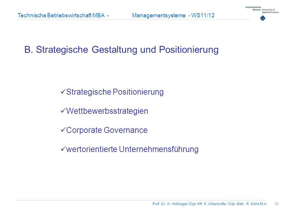 19 Prof. Dr. W. Hufnagel / Dipl. Kff. K. Uhlenkotte / Dipl.-Betr. R. Kühn M.A. Technische Betriebswirtschaft MBA - Managementsysteme - WS11/12 B. Stra