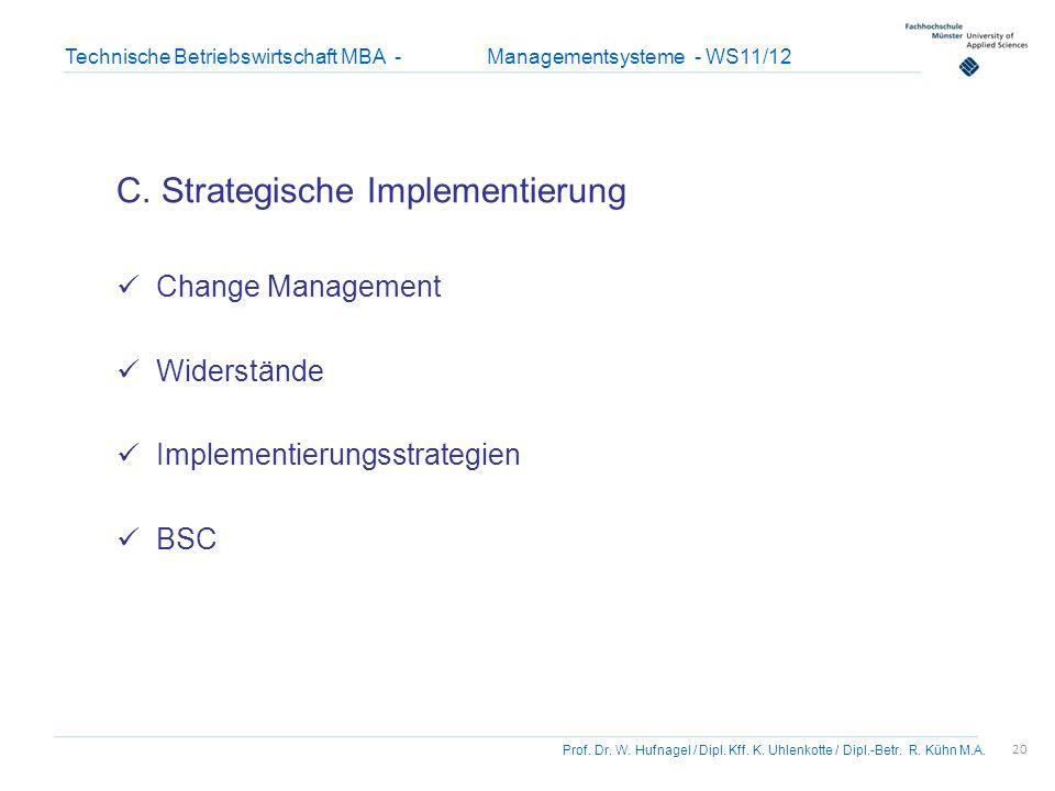 20 Prof. Dr. W. Hufnagel / Dipl. Kff. K. Uhlenkotte / Dipl.-Betr. R. Kühn M.A. Technische Betriebswirtschaft MBA - Managementsysteme - WS11/12 C. Stra