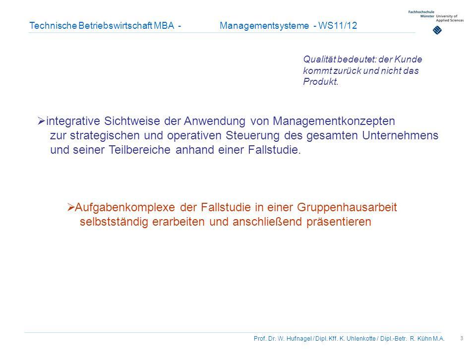 3 Prof. Dr. W. Hufnagel / Dipl. Kff. K. Uhlenkotte / Dipl.-Betr. R. Kühn M.A. Technische Betriebswirtschaft MBA - Managementsysteme - WS11/12 Aufgaben
