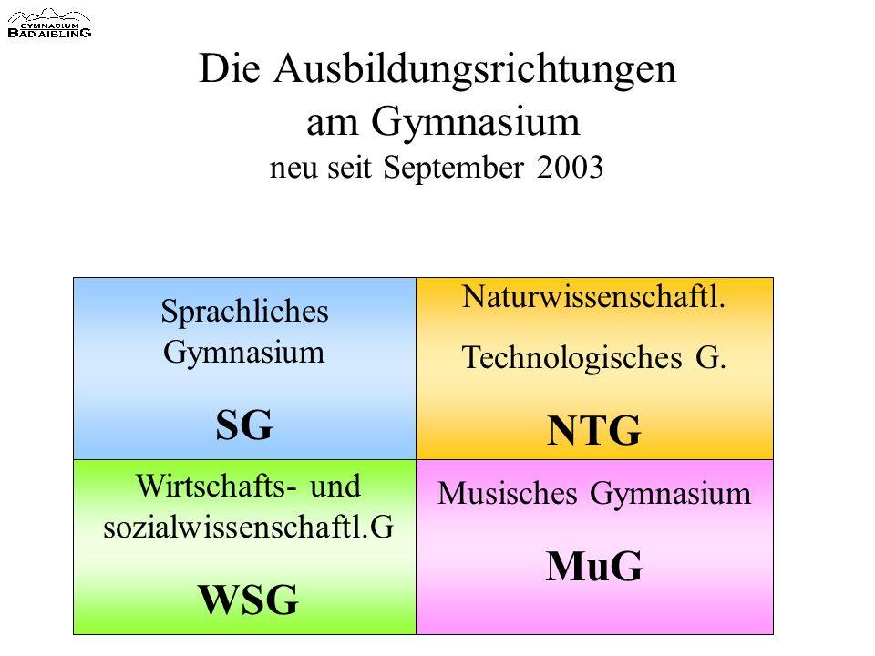 Die Ausbildungsrichtungen am Gymnasium neu seit September 2003 Sprachliches Gymnasium SG Naturwissenschaftl.