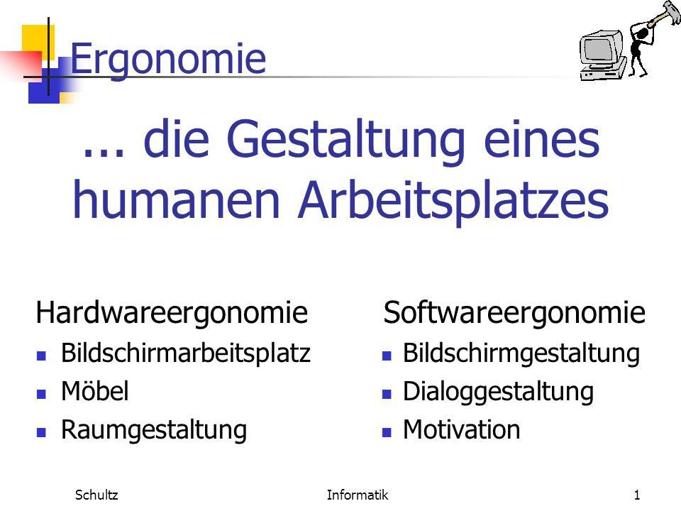 Ergonomie SchultzInformatik11 Erwartungskonformität Software-Ergonomie Definition Ein Dialog ist erwartungskonform, wenn er konsistent ist und den Merkmalen des Benutzers entspricht, z.