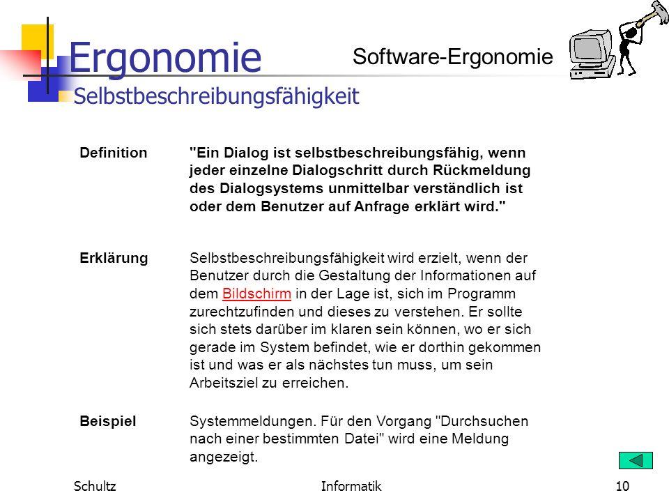 Ergonomie SchultzInformatik9 Software-Ergonomie Definition