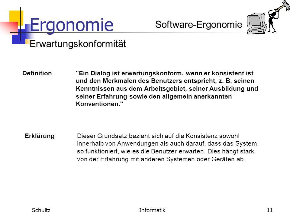 Ergonomie SchultzInformatik10 Software-Ergonomie Definition