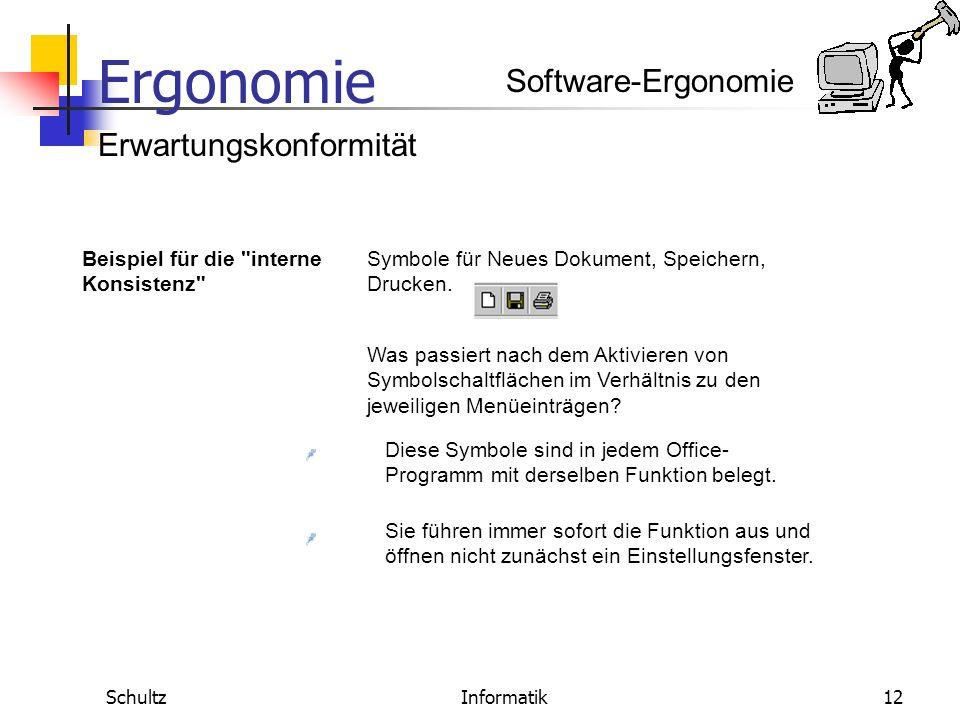 Ergonomie SchultzInformatik11 Erwartungskonformität Software-Ergonomie Definition