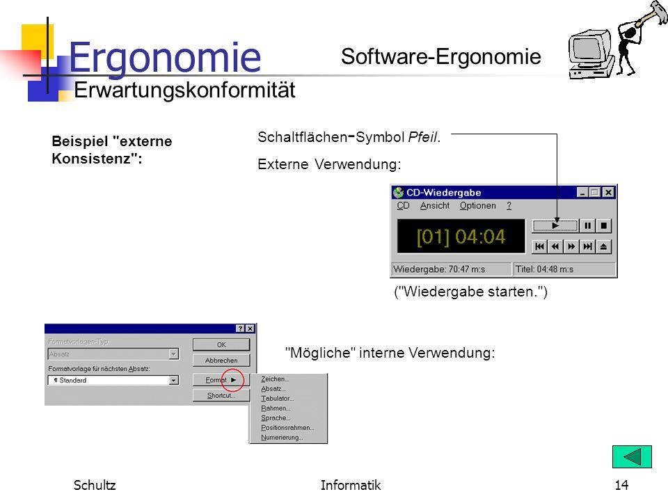 Ergonomie SchultzInformatik13 Wer bereits mit einem MS-Office-Programm gearbeitet hat, verfügt über eine Erwartungshaltung, wonach auch in einem ander