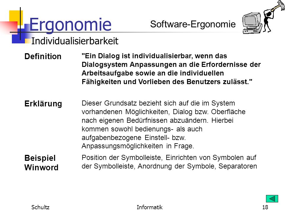 Ergonomie SchultzInformatik17 Software-Ergonomie Fehlertoleranz Definition