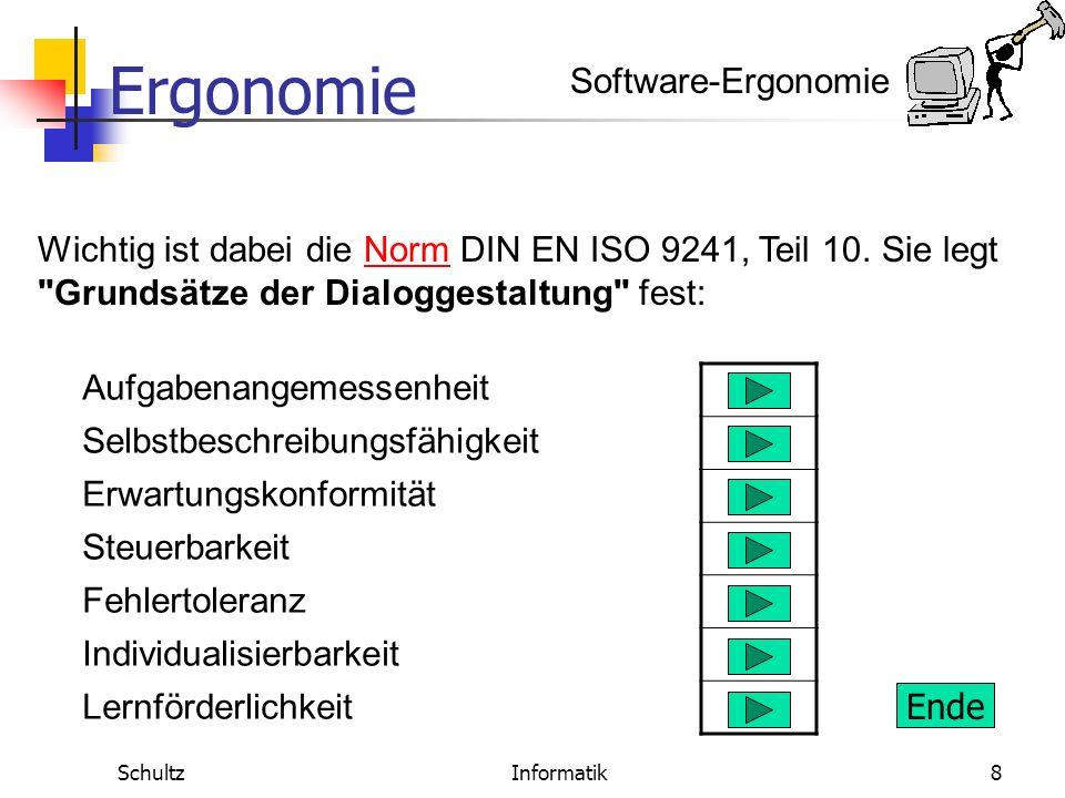 Ergonomie SchultzInformatik7 Software-Ergonomie Ziel der Software-Ergonomie ist die Anpassung der Eigenschaften von Software an die psychischen Eigens