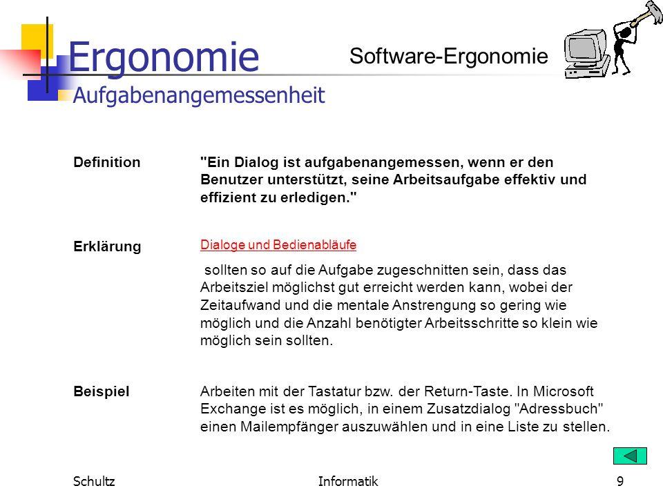 Ergonomie SchultzInformatik8 Wichtig ist dabei die Norm DIN EN ISO 9241, Teil 10. Sie legt