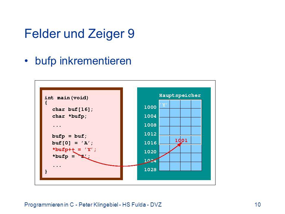 Programmieren in C - Peter Klingebiel - HS Fulda - DVZ10 Felder und Zeiger 9 bufp inkrementieren