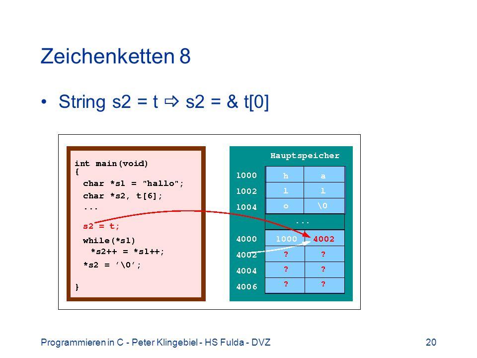 Programmieren in C - Peter Klingebiel - HS Fulda - DVZ20 Zeichenketten 8 String s2 = t s2 = & t[0]