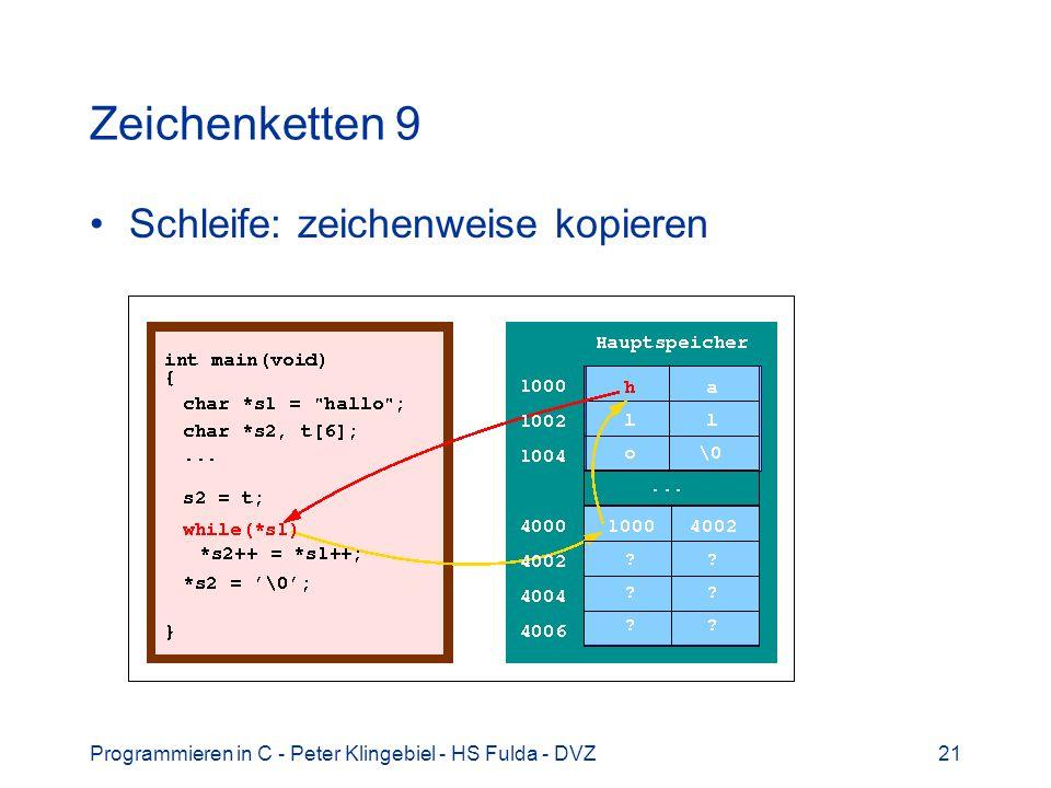 Programmieren in C - Peter Klingebiel - HS Fulda - DVZ21 Zeichenketten 9 Schleife: zeichenweise kopieren