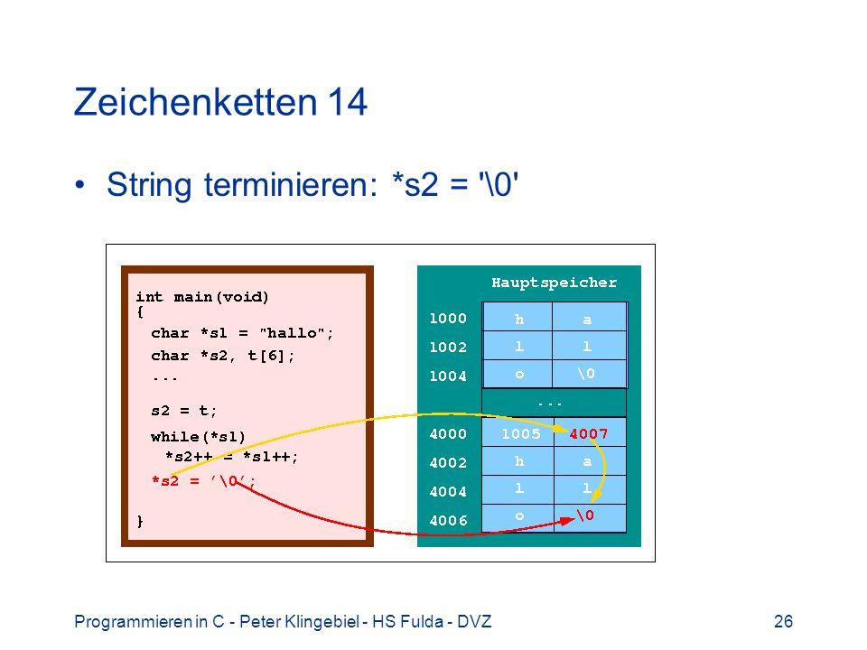 Programmieren in C - Peter Klingebiel - HS Fulda - DVZ26 Zeichenketten 14 String terminieren: *s2 = \0