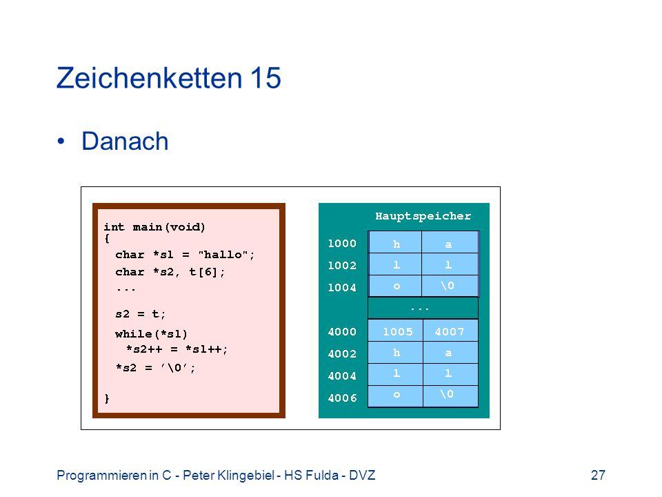 Programmieren in C - Peter Klingebiel - HS Fulda - DVZ27 Zeichenketten 15 Danach