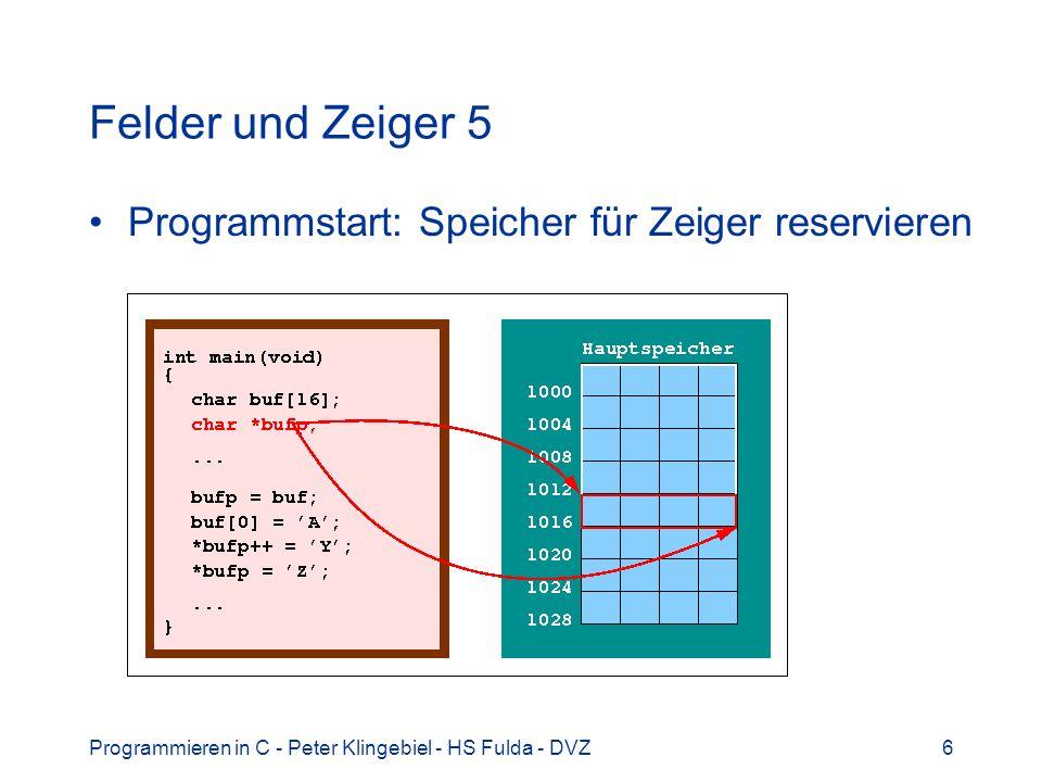 Programmieren in C - Peter Klingebiel - HS Fulda - DVZ6 Felder und Zeiger 5 Programmstart: Speicher für Zeiger reservieren