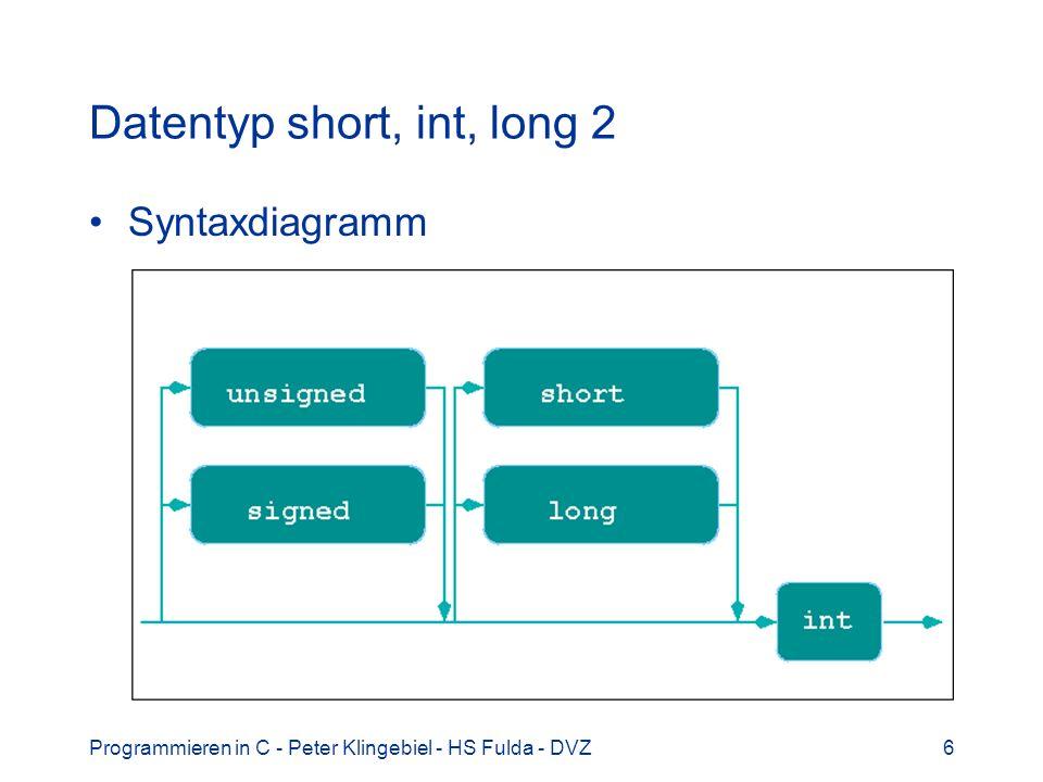 Programmieren in C - Peter Klingebiel - HS Fulda - DVZ6 Datentyp short, int, long 2 Syntaxdiagramm