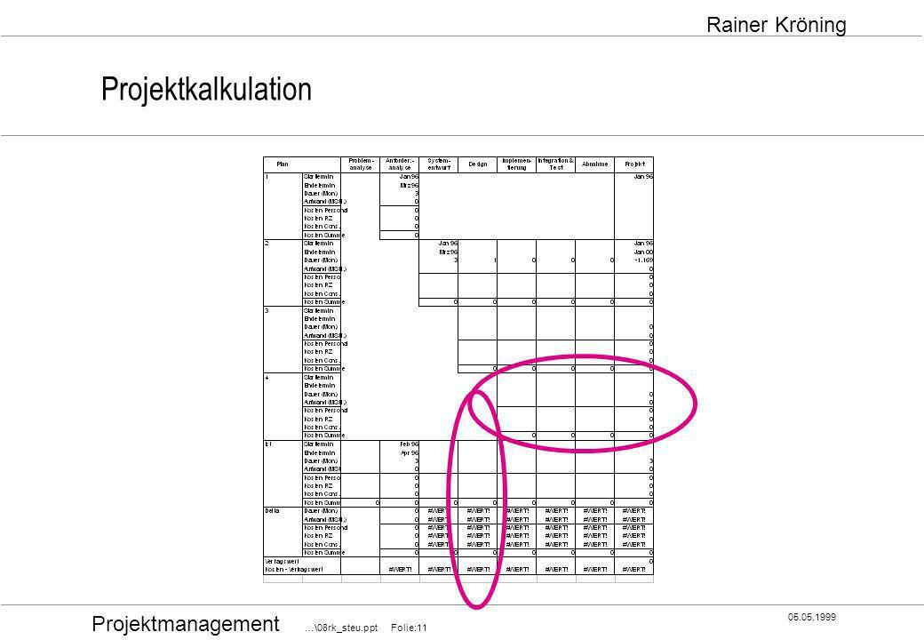 Projektmanagement …\08rk_steu.ppt Folie:11 05.05.1999 Rainer Kröning Projektkalkulation