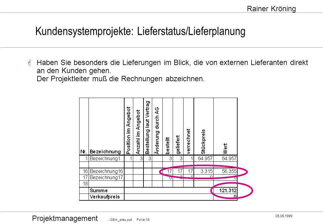 Projektmanagement …\08rk_steu.ppt Folie:19 05.05.1999 Rainer Kröning Kundensystemprojekte: Lieferstatus/Lieferplanung Haben Sie besonders die Lieferun