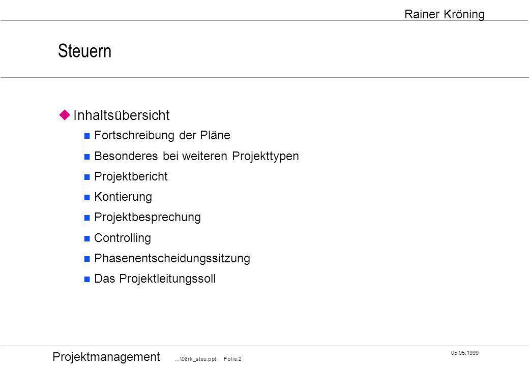 Projektmanagement …\08rk_steu.ppt Folie:3 05.05.1999 Rainer Kröning Fortschreibung der Pläne Die zentralen Fragen bei der Projektsteuerung lauten: Wann wird das Projekt wirklich fertig.