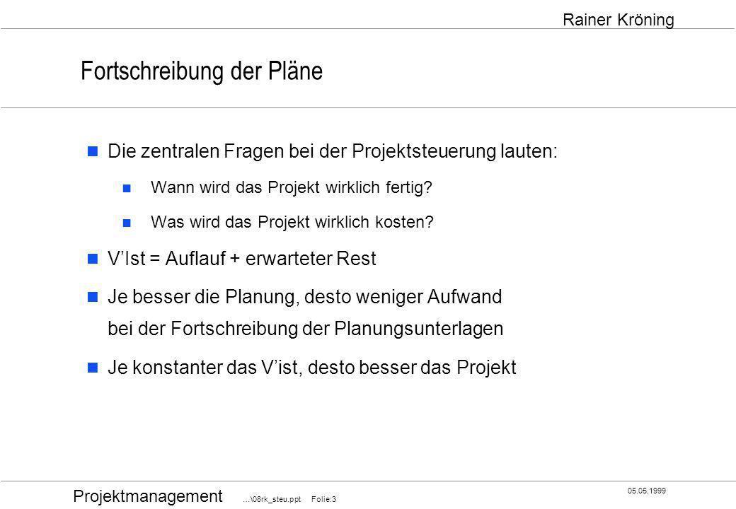 Projektmanagement …\08rk_steu.ppt Folie:4 05.05.1999 Rainer Kröning Fortschreibung der Pläne MITARBEITERGEBIRGE AUFWANDS- und TERMINPLAN MITARBEITEREINSATZPLAN MEILENSTEINTRENDANALYSE AUFWANDSTRENDANALYSE KOSTENTRENDANALYSE PHASENKALKULATION, PROJEKTKALKULATION ZULIEFERPLAN QUALITÄTSSICHERUNGSPLAN PRODUKTSTRUKTUR, PHASENSTRUKTUR PROJEKTORGANISATION