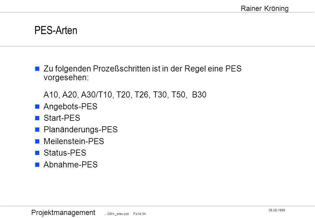 Projektmanagement …\08rk_steu.ppt Folie:34 05.05.1999 Rainer Kröning PES-Arten Zu folgenden Prozeßschritten ist in der Regel eine PES vorgesehen: A10,