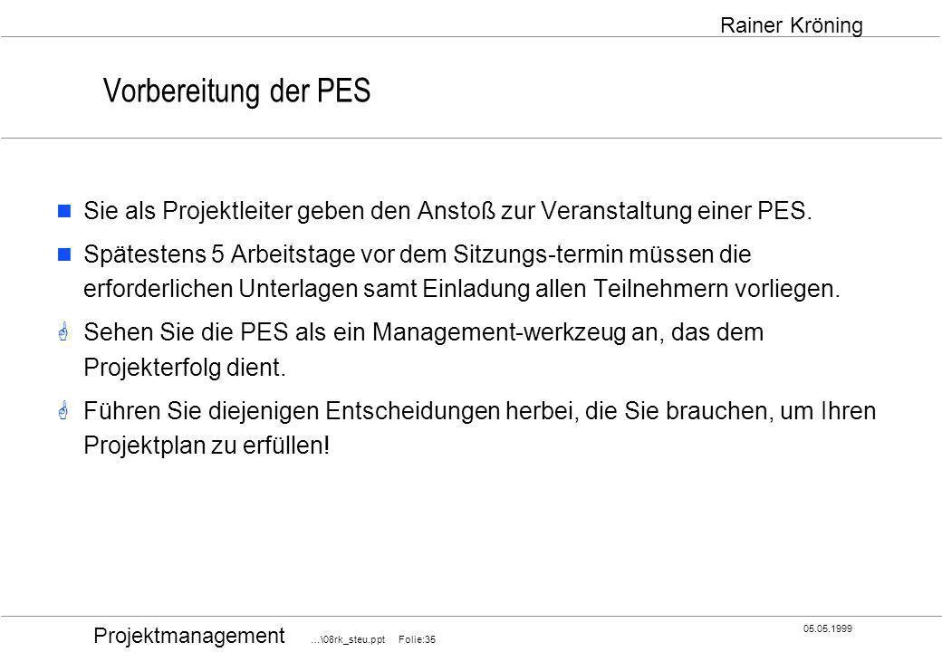 Projektmanagement …\08rk_steu.ppt Folie:35 05.05.1999 Rainer Kröning Vorbereitung der PES Sie als Projektleiter geben den Anstoß zur Veranstaltung ein