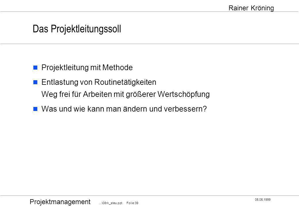 Projektmanagement …\08rk_steu.ppt Folie:39 05.05.1999 Rainer Kröning Das Projektleitungssoll Projektleitung mit Methode Entlastung von Routinetätigkei