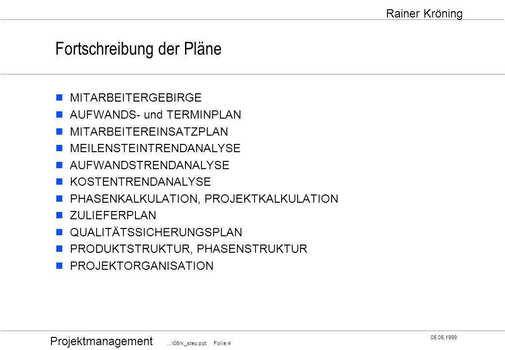 Projektmanagement …\08rk_steu.ppt Folie:5 05.05.1999 Rainer Kröning Aufwands- und Terminplan ;Fragen Sie: Welche Aufgaben müssen noch erledigt werden, um das Arbeitspaket fertigzustellen, und wieviel Zeit wird für jede dieser Aufgaben gebraucht?