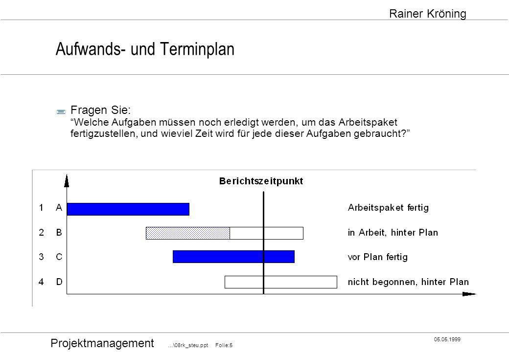 Projektmanagement …\08rk_steu.ppt Folie:6 05.05.1999 Rainer Kröning Mitarbeitereinsatzplan ;Eine veränderte Zuteilung oder eine Verschiebung von Arbeitspaketen, neue Arbeitspakete oder die Erkrankung oder den Einsatz neuer Mitarbeiter müssen Sie im MITARBEITEREINSATZPLAN mitvollziehen.