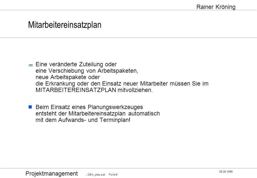 Projektmanagement …\08rk_steu.ppt Folie:27 05.05.1999 Rainer Kröning Projektbesprechung Alle Teilnehmer sollten sich auf jeder Projektbesprechung fragen: Wie kommt man voran.