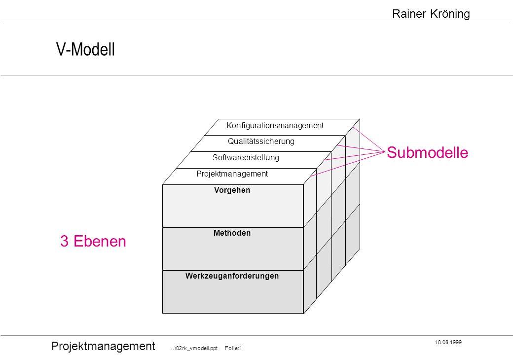 Projektmanagement …\02rk_vmodell.ppt Folie:1 10.08.1999 Rainer Kröning V-Modell Werkzeuganforderungen Methoden Vorgehen Konfigurationsmanagement Quali