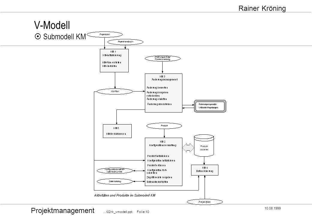 Projektmanagement …\02rk_vmodell.ppt Folie:10 10.08.1999 Rainer Kröning V-Modell Submodell KM