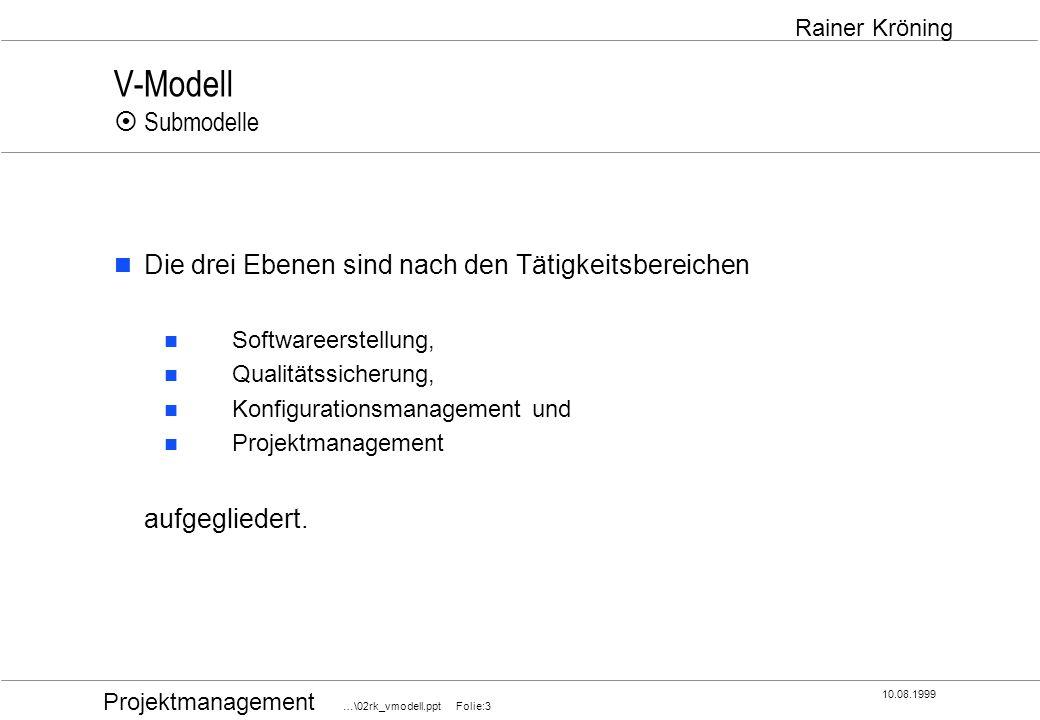 Projektmanagement …\02rk_vmodell.ppt Folie:4 10.08.1999 Rainer Kröning V-Modell Submodelle PM QS SWE KM informiert kontrolliert/ steuert plant prüft gibt Anforderungen u.