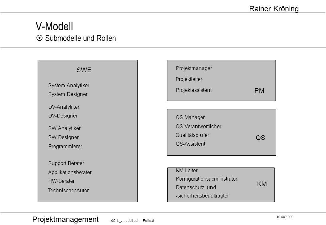 Projektmanagement …\02rk_vmodell.ppt Folie:6 10.08.1999 Rainer Kröning V-Modell Submodelle und Rollen SWE PM QS KM System-Analytiker System-Designer D