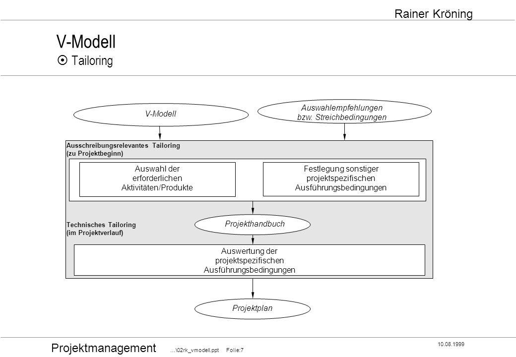 Projektmanagement …\02rk_vmodell.ppt Folie:7 10.08.1999 Rainer Kröning V-Modell Tailoring Ausschreibungsrelevantes Tailoring (zu Projektbeginn) Techni