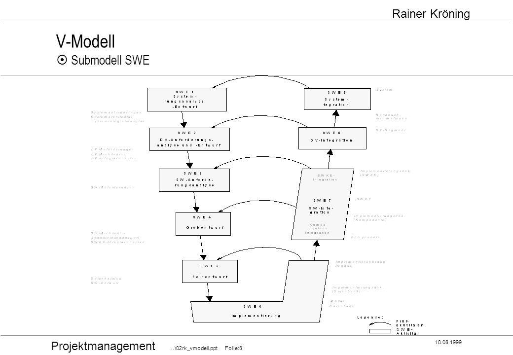 Projektmanagement …\02rk_vmodell.ppt Folie:8 10.08.1999 Rainer Kröning V-Modell Submodell SWE