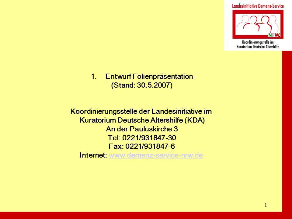 1 1.Entwurf Folienpräsentation (Stand: 30.5.2007) Koordinierungsstelle der Landesinitiative im Kuratorium Deutsche Altershilfe (KDA) An der Pauluskirc
