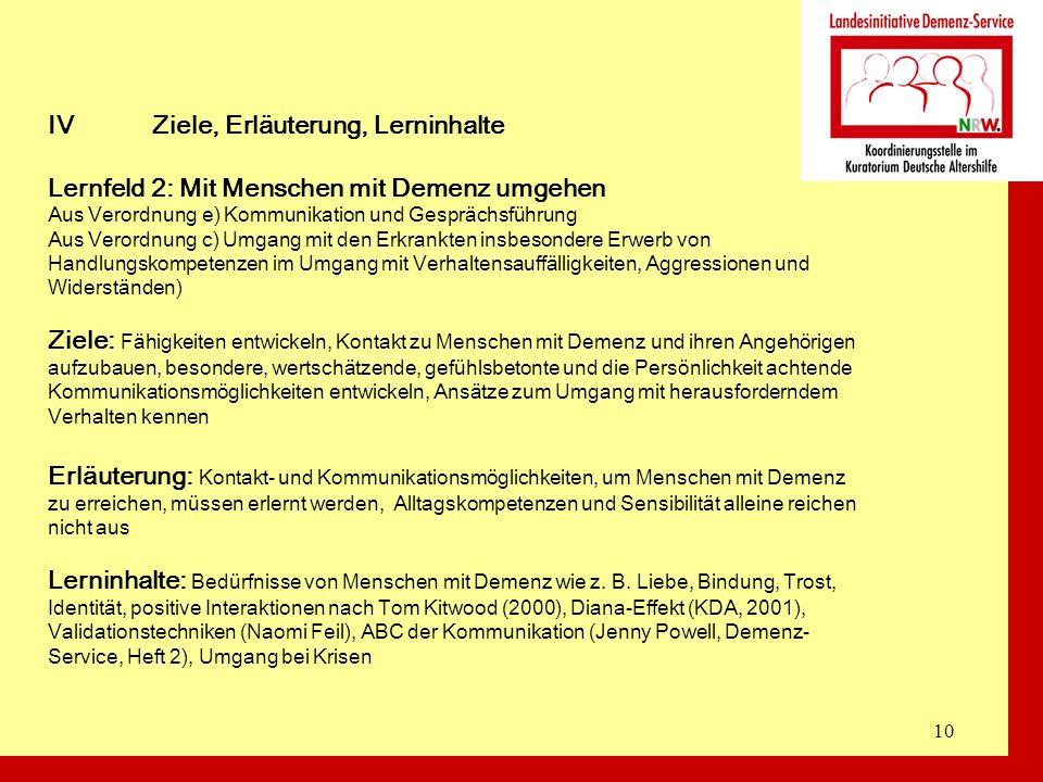 10 IVZiele, Erläuterung, Lerninhalte Lernfeld 2: Mit Menschen mit Demenz umgehen Aus Verordnung e) Kommunikation und Gesprächsführung Aus Verordnung c