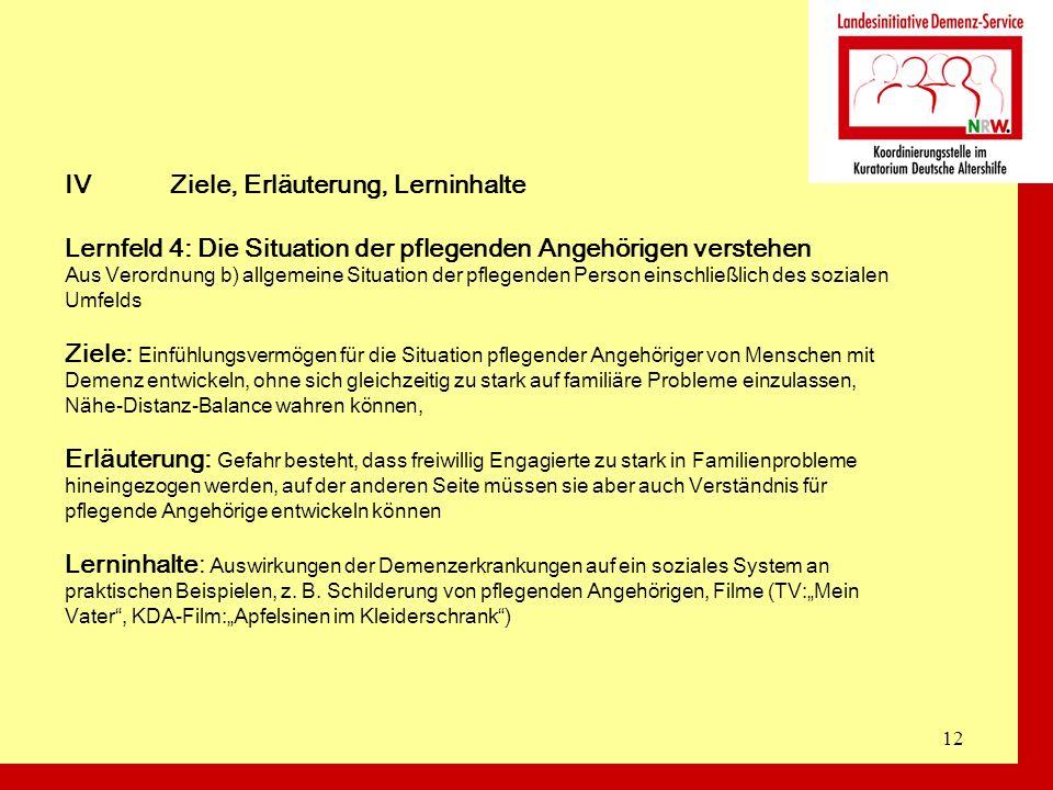 12 IVZiele, Erläuterung, Lerninhalte Lernfeld 4: Die Situation der pflegenden Angehörigen verstehen Aus Verordnung b) allgemeine Situation der pflegen
