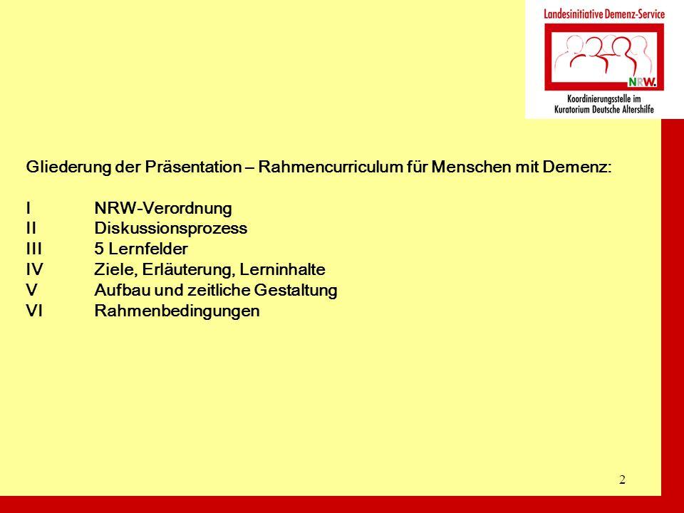 2 Gliederung der Präsentation – Rahmencurriculum für Menschen mit Demenz: INRW-Verordnung IIDiskussionsprozess III5 Lernfelder IVZiele, Erläuterung, L