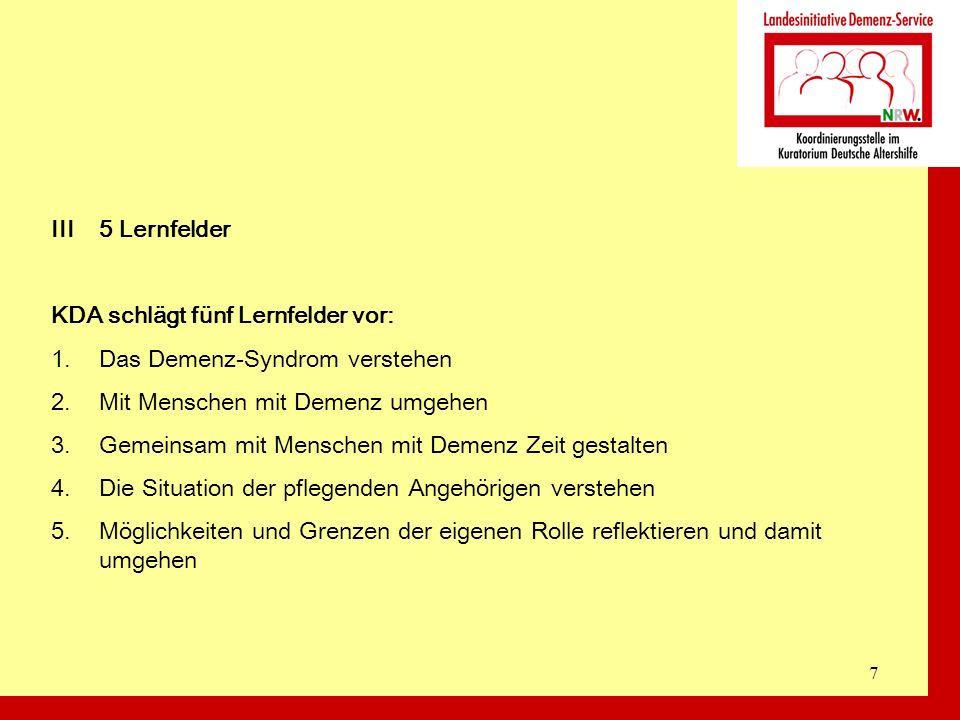 8 III5 Lernfelder Lernfelder und NRW-Verordnung 1.
