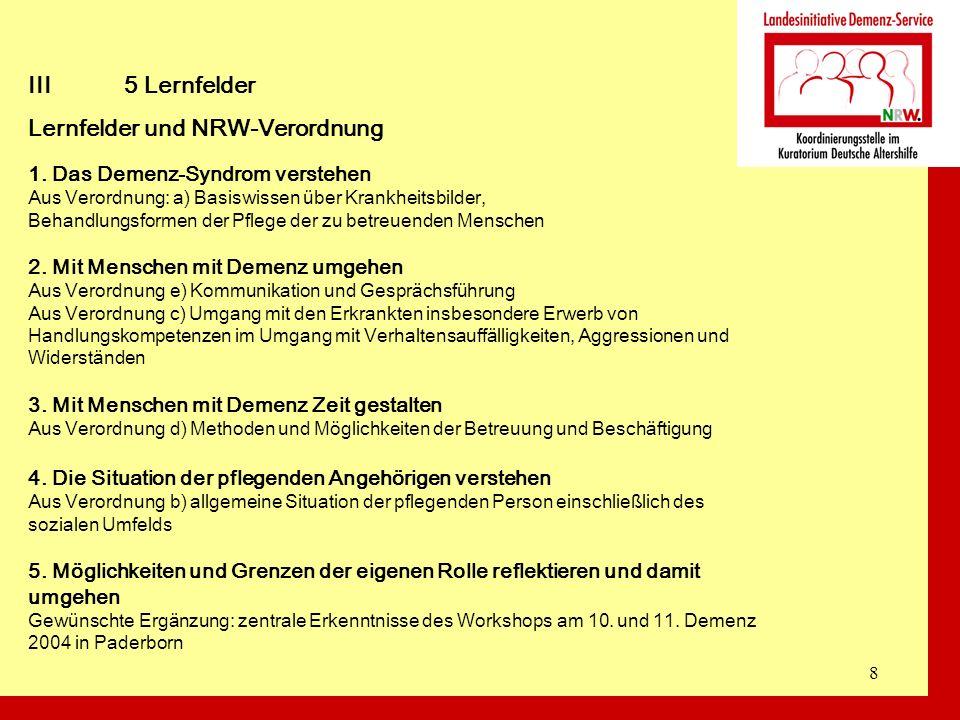 8 III5 Lernfelder Lernfelder und NRW-Verordnung 1. Das Demenz-Syndrom verstehen Aus Verordnung: a) Basiswissen über Krankheitsbilder, Behandlungsforme