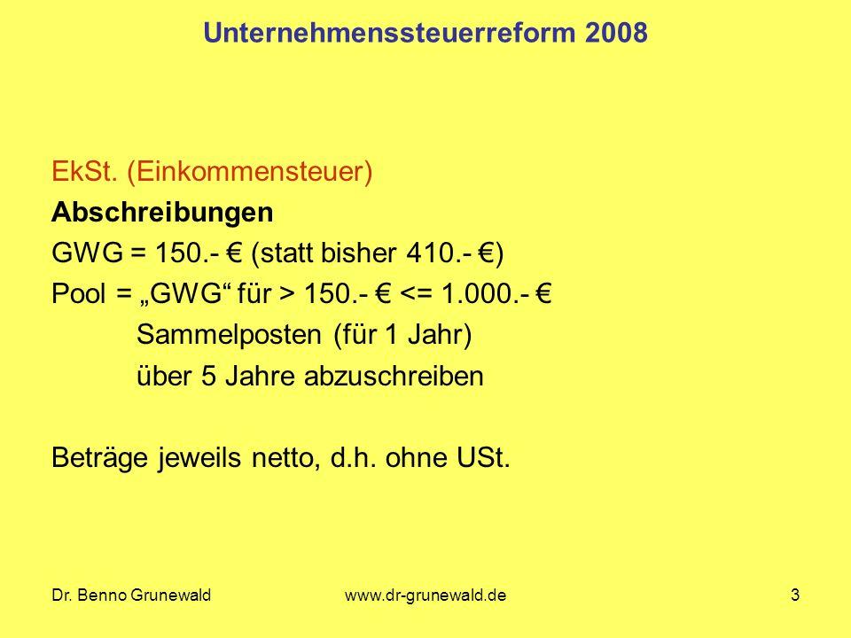Dr. Benno Grunewaldwww.dr-grunewald.de3 Unternehmenssteuerreform 2008 EkSt.