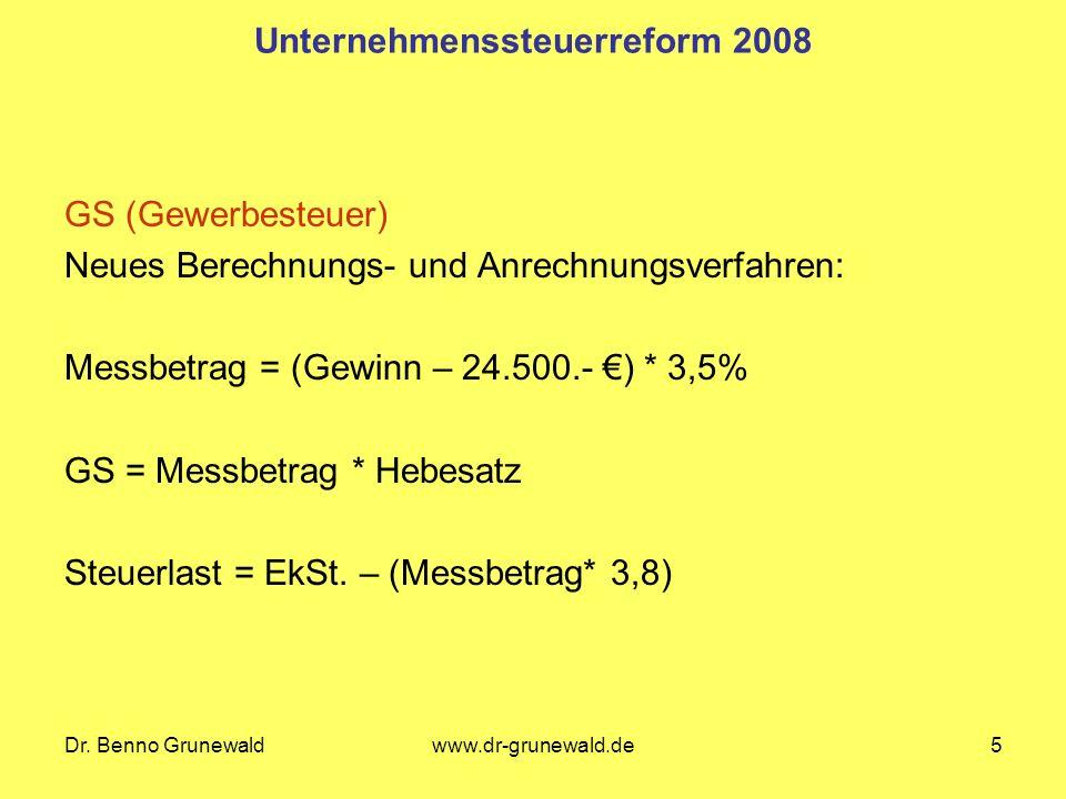 Dr. Benno Grunewaldwww.dr-grunewald.de5 Unternehmenssteuerreform 2008 GS (Gewerbesteuer) Neues Berechnungs- und Anrechnungsverfahren: Messbetrag = (Ge