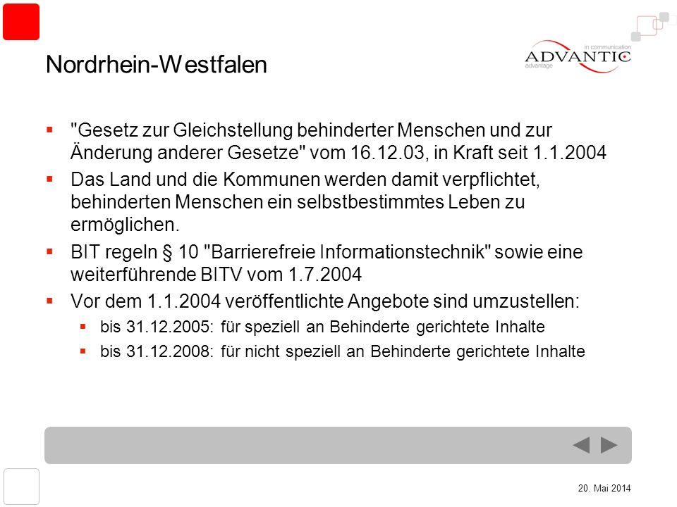 20. Mai 2014 Nordrhein-Westfalen