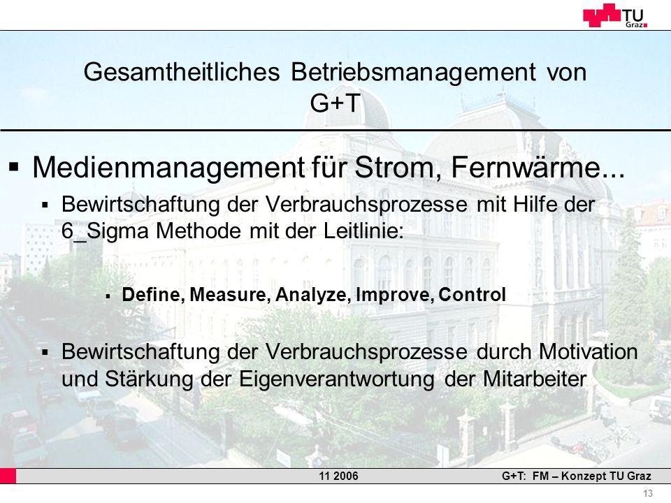 Professor Horst Cerjak, 19.12.2005 13 11 2006G+T: FM – Konzept TU Graz Gesamtheitliches Betriebsmanagement von G+T Medienmanagement für Strom, Fernwär