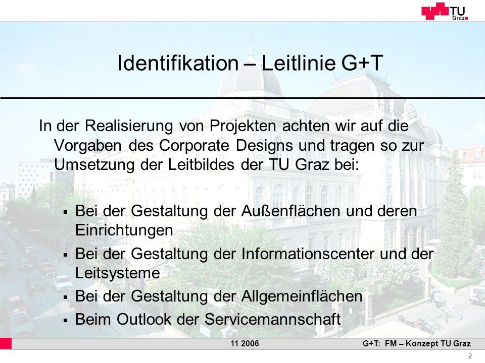 Professor Horst Cerjak, 19.12.2005 2 11 2006G+T: FM – Konzept TU Graz Identifikation – Leitlinie G+T In der Realisierung von Projekten achten wir auf